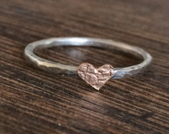 Rose gold heart stacking ring, silver and rose gold stacking ring, stacking band, dainty stacking ring, thin stacking ring, 9ct rose gold,