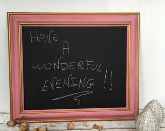 Large Chalkboard, Pink Blackboard , Magnetic ,  Shabby Chic, Chalkboard, Chalkboard for kitchen, wedding , Framed Chore Board 53cm X 63cm