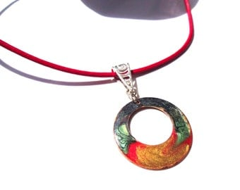 Necklace -  leather string – enamelled pendant