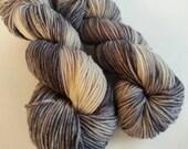 Hand dyed Yarn, Worsted Weight, Hand Painted Yarn, 100% Superwash Merino Wool, Black Gray White