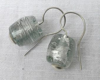 Earrings, earrings, grey with SterlingSilber, handmade
