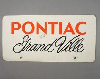 "Pontiac Grand Ville Cardboard License Plate Car Red Gray Grey Black 12"" x 6"" Auto Plate Vintage"
