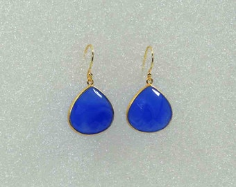 Blue Chalcedony 22k Gold Plated 925 Sterling Silver Drop Earring.