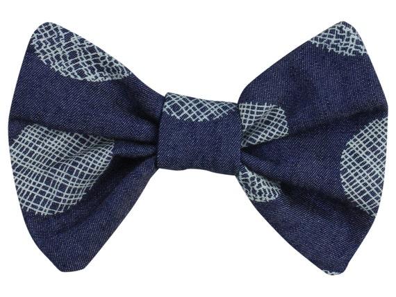 Denim Polka Dot Baby Hair Clip Toddler Hair Bow Clip Polka Dot Bow Clip Denim Hair Clip Bow Classic Hair Bow Polka Dot Toddler Hair Clip Bow