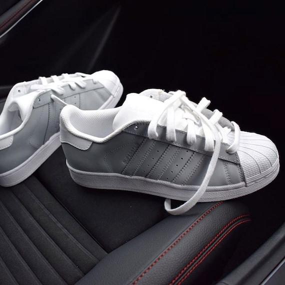 grey white adidas originals superstar two tone custom by. Black Bedroom Furniture Sets. Home Design Ideas