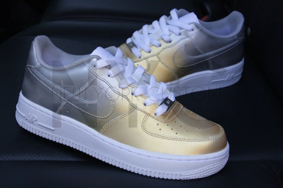 another chance 7cd99 008cd ... top quality remixdakickz blue and silver custom painted af1 sneakers nike  air force 1 lows gold