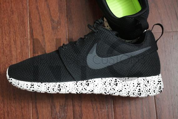4d8d90ea1 Nike Roshe One Run Black Splatter Speckle Bottom Custom