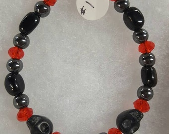 Hematite and Black Agate with Skull beads