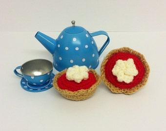 Play Food Crochet Jam Tarts set of 2, Gift, Amigurumi
