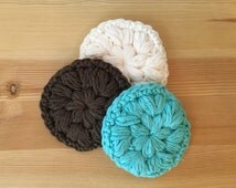 Set of 3 Face Scrubbies,Make Up Remover,Face Scrubbies,Washcloth,Bridal Gift,Crochet Face Scrubby,Spa Gift,Cotton Face Scrubbies,Exfoliating