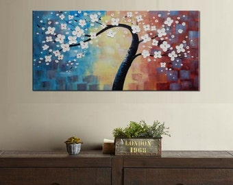 Flower Oil Painting Tree Painting Canvas Wall Art Living Room Painting Modern Wall Art Extra Large Painting Abstract Art Ready to Hang Art