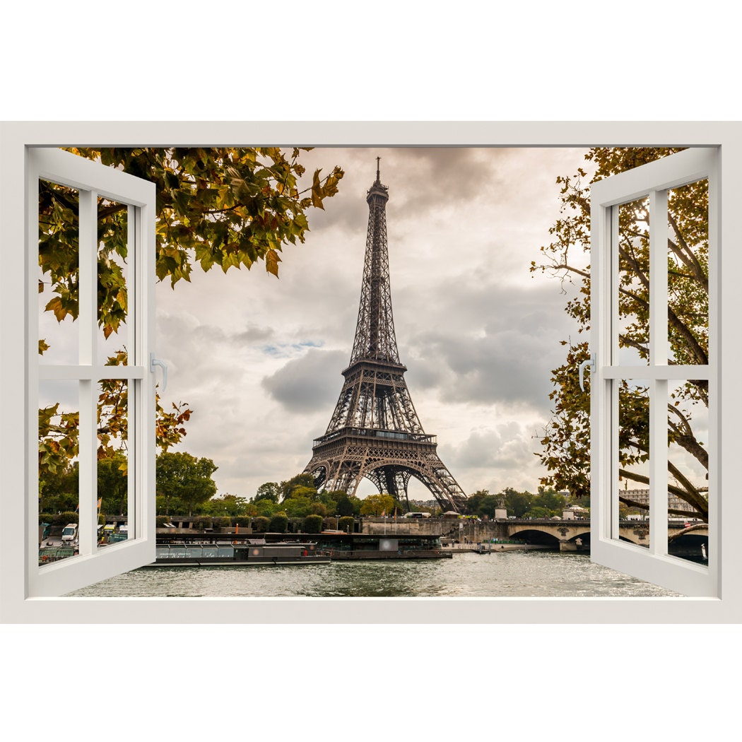 Window frame mural eiffel tower seine huge size peel and for Eiffel tower wall mural ikea