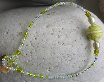 Green Bead Friendship Bracelet - OOAK
