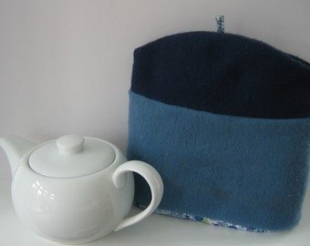 Tea Cosy, Recycled Felted Tea Cosy, Cotton Floral Fabric Lining, Blue Tea Cosy, OOAK