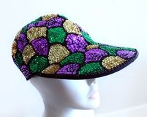 Sequin Baseball Cap // Vtg 80's Club Hat // 1980's Vintage Accessories // Scalloped Beaded Sequin Pattern