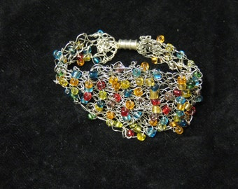 Knitted Beaded Cuff Bracelet
