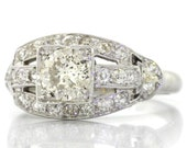 1920s Antique Art Deco Trans Round Cut Platinum .95ctw Diamond Engagement Ring