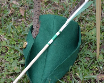 Archery Arrows, Junior archers, Poplar shafts set of 6 green and gold for kids with bonus finger tab