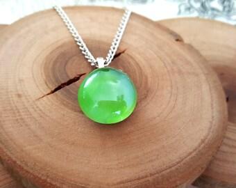 Neon Green  Glass Stone Pendant Necklace - Summer Fun Jewelry - Bright Green - Glass Stone Charm - Minimalist Necklace -