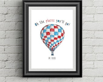 Oh The Places You'll Go Dr Seuss Quote Wall Art Nursery Print Childrens Room Decor Dr. Seuss Wall Decor
