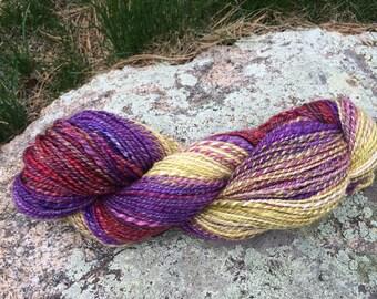 Spindle spun Yarn - Pansies