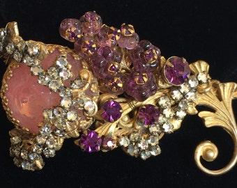 Exquisite Vintage Miriam Haskell Brooch Pin~Pink/Purple Glass/Rhinestones/Crystals/Gilt Filigree~Signed