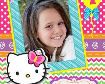 Hello Kitty Birthday Picture, Hello Kitty Picture, Personalized Hello Kitty Picture, Hello Kitty Scrapbook, Hello Kitty Birthday Photo,00015