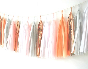 Copper Cloud Tissue Tassel Garland - Balloon Tails / Balloon Tassels / Garland / Nursery Garland / Wedding Decor