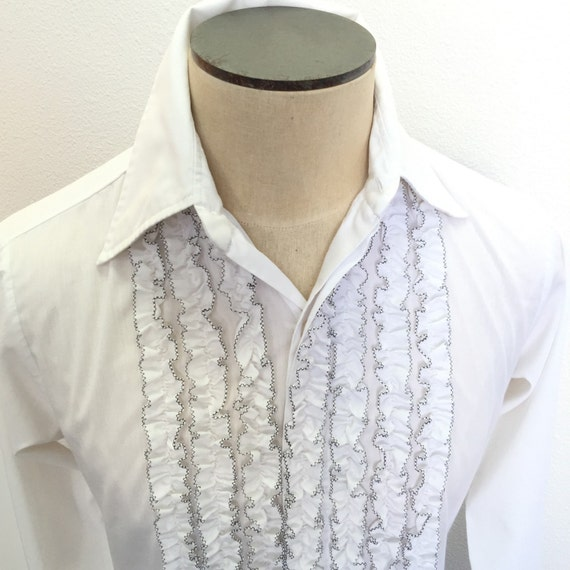 Mens ruffled tuxedo shirt size small white by for Frilly shirts for men