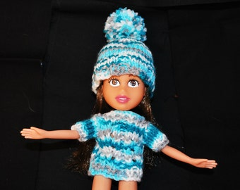 Bratz Clothing, Reborn, Hand Knit Sweater and Hat for Recycled Bratz Doll