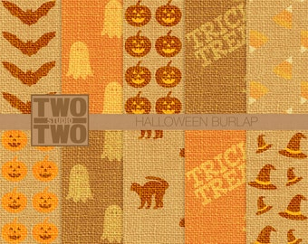Halloween Burlap Digital Paper with Bats, Black Cats, Jack O' Lanterns, Ghosts, Witch Hats, Candy Corn, and Trick or Treat Background