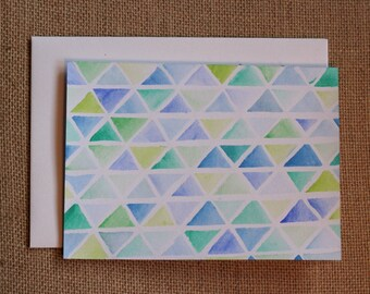 Watercolour Triangles - Blank Card
