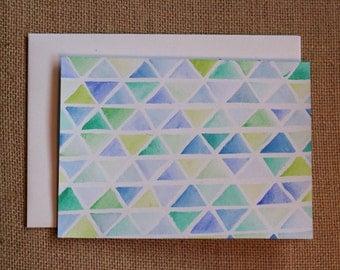 Watercolour Triangles - Blank Card