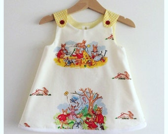 "Baby girl dress "" Flopsy Bunnies"" A line dress 2 left ready to ship"