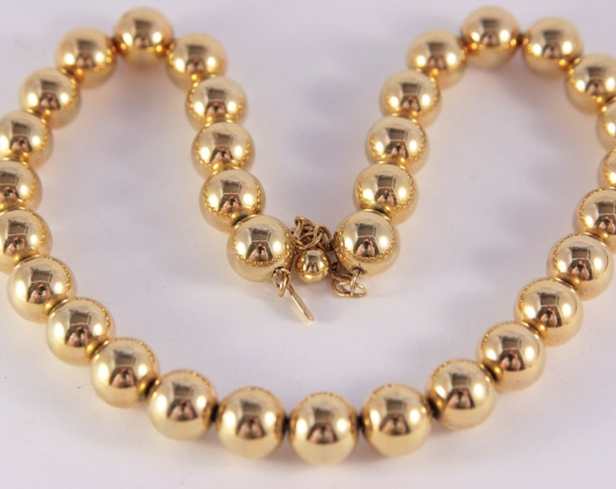 Gold Beads Choker Necklace Sarah Cov Designer Round Balls Vintage Jewelry
