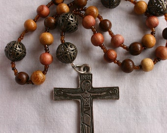 Rustic Anglican Rosary. Wood Beads, Medieval Crucifix