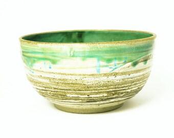 Large Stoneware Pottery Bowl, Colorful Handmade Clay Serving Bowl, Handmade Green Serving Bowl