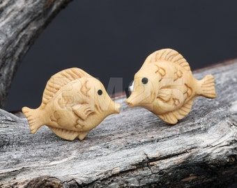 A Pair of Yellow Tang Fish Handcarved Earring Stud