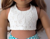 "Lace Crop Halter Top for 18"" Dolls such as American Girl"