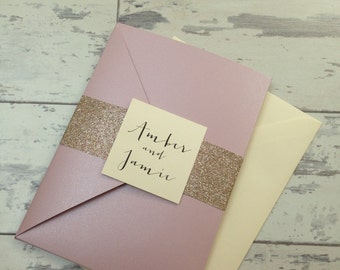 Amber Misty Rose Pearlised pocket wedding invitation sample with menu card and RSVP card and gold glitter wrap