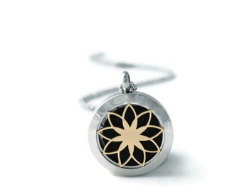 Small Silver and Gold Diffuser Necklace-Stainless Steel-Diffuser Necklace-Free Shipping-Aromatherapy-Christmas Gift
