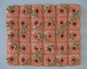 1/12th Scale Crocheted Blanket - Peach Flowers