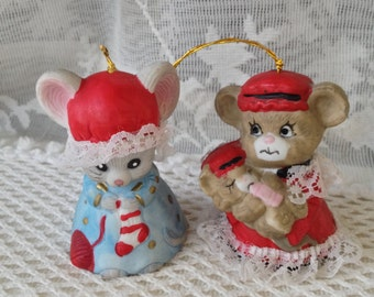 Jasco Bell Ornaments, Christmas Critters, Chimers, Bear and Mouse Bells with Lace Bric Brac, Set of Two Bisque Porcelain Collectible