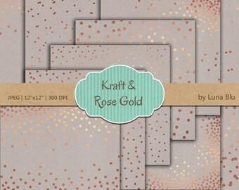 "Confetti Digital Paper: ""Kraft and Rose Gold Confetti"" Rose Gold Foil Scrapbook Paper, kraft digital paper, Rose Gold Confetti"