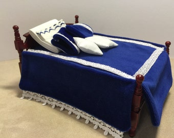 1:12 Scale Beautiful Blue Velour Laced Trimmed Bedding
