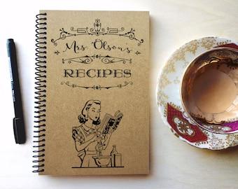blank recipe book/personalized recipe book/recipe journal/custom recipe book/personalized gift/wedding recipe book/handmade recipe book.