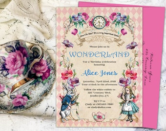 Alice in wonderland invitation, mad hatter tea party invitation, alice in wonderland party, alice in wonderland birthday invitation. Printed