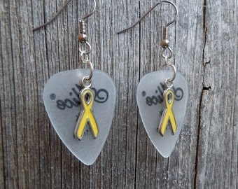 Yellow Ribbon Charm Guitar Pick Earrings - Pick Your Color