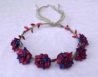 Adjustable Rose Headband - Red Blue Flower Headband - Magenta Roses - Hippie Headband - Festival Headband - Hair Accessories