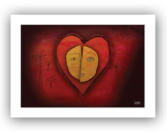 Origin of Love Heart 5x7 Valentine card with art inspired by Hedwig song - blank inside